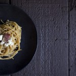 Spaghetti with Caramelized Onions, Goat Cheese and Bacon