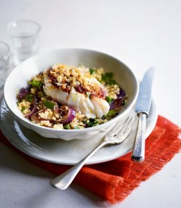 Breaded Harissa Cod with Lemon and Red Onion Couscous