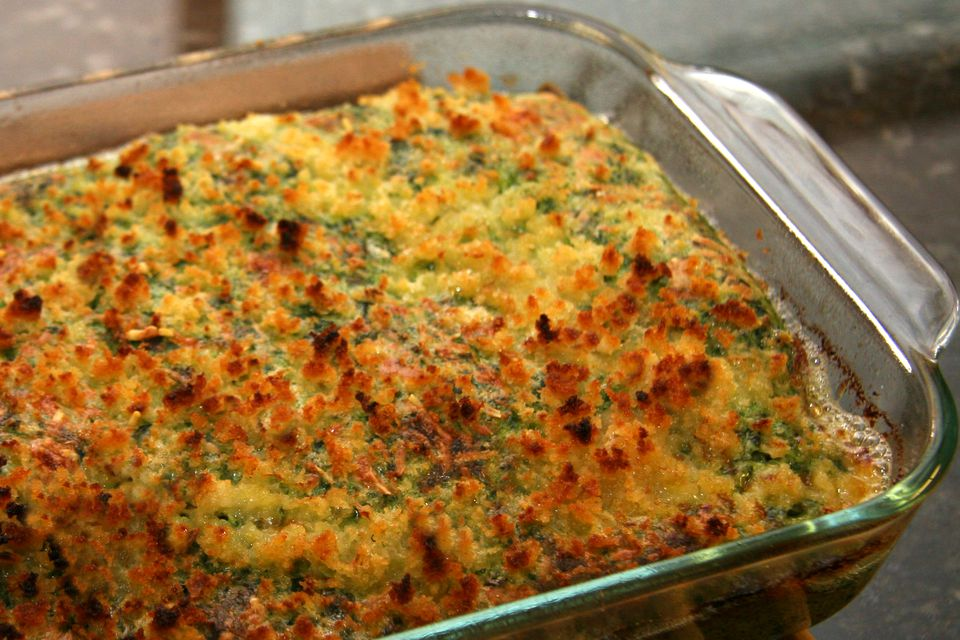 Baked chicken florentine with spinach souffle