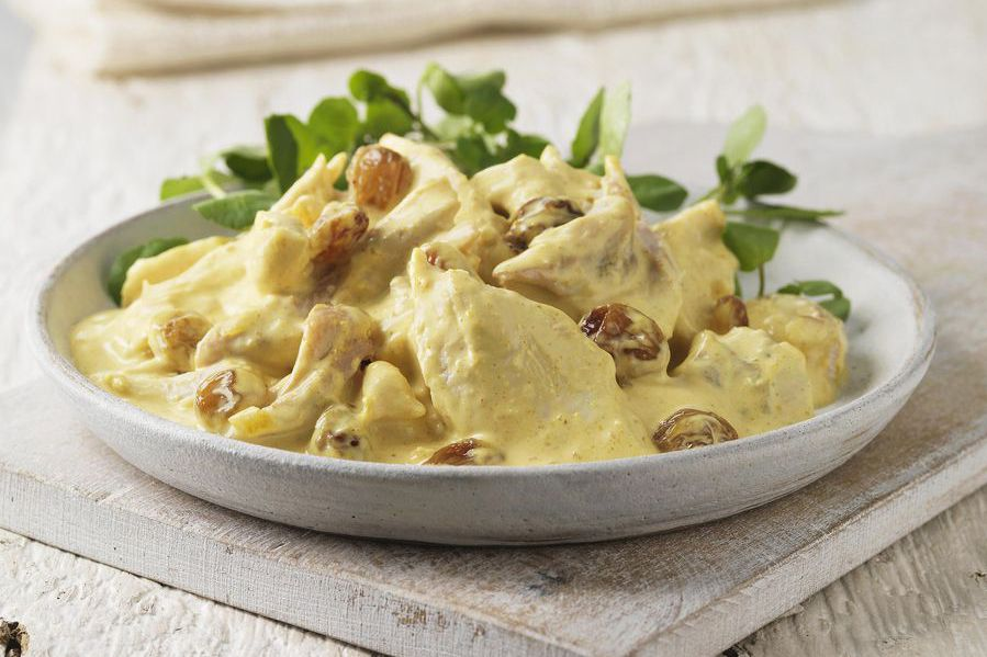 A plate of coronation chicken