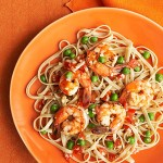Whole Wheat Fettuccine with Shrimp and Peas